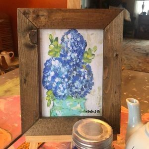 Flower print with wood frame